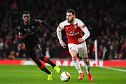 Arsenal Defender Sead Kolasinac (31) and Rennes Ismaila Sarr (7) in action during the Europa League round of 16, leg 2 of 2 match between Arsenal and Rennes at the Emirates Stadium, London, England on 14 March 2019.