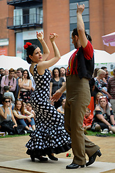 "© Licensed to London News Pictures. 27/05/2018. LONDON, UK.  Flamenco dancers entertain the crowds at ""Feria De Londres"", on the Southbank.  The three day festival held over the bank holiday weekend celebrates the culture of the Andalusian region of Southern Spain through dance, food and music.  Photo credit: Stephen Chung/LNP"