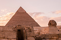 Valley Temple, Sphinx and Great Pyramid in Giza, Egypt.