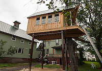 Tree House under construction on Riverside Court in Laconia.  (Karen Bobotas/for the Laconia Daily Sun)