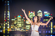 Laura Wright sings Jerusalem as part of O2's world first in handing over the roof of The O2 for fans to tweet messages of support for England Rugby using #WeartheRose