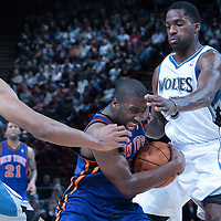 06 October 2010: New York Knicks guard Raymond Felton #2 drives past Minnesota Timberwolves forward Martell Webster #5 during the Minnesota Timberwolves 106-100 victory over the New York Knicks, during 2010 NBA Europe Live, at the POPB Arena in Paris, France.