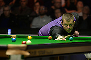 20.02.2016. Cardiff Arena, Cardiff, Wales. Bet Victor Welsh Open Snooker. Mark Allen versus Neil Robertson. Mark Allen takes a long shot on.