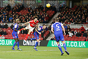 Header over the bar by Middlesbrough defender George Friend (3)  during the EFL Sky Bet Championship match between Middlesbrough and Ipswich Town at the Riverside Stadium, Middlesbrough, England on 29 December 2018.