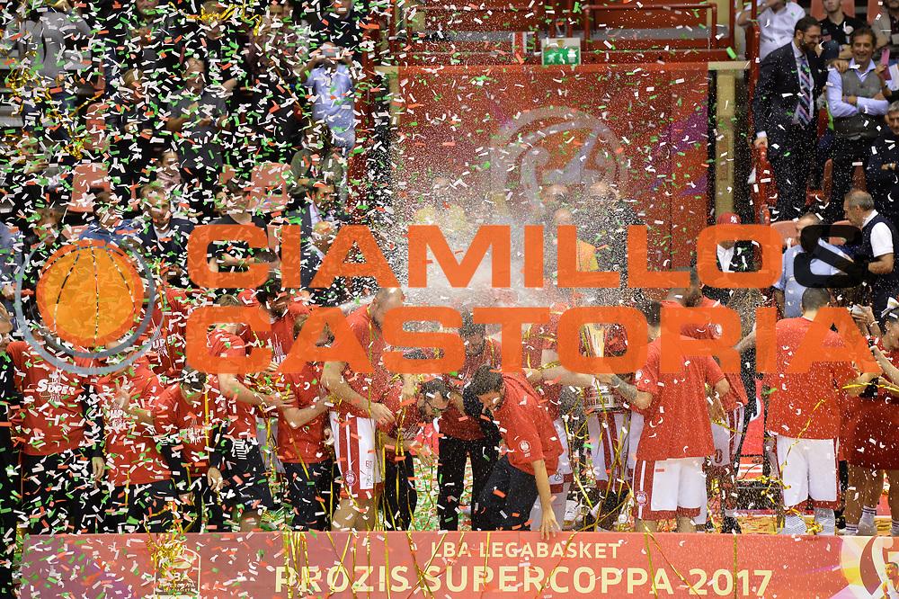 Premiazione EA7 Emporio Armani Milano<br /> Prozis Supercoppa Italiana 2017<br /> Finale<br /> EA7 Emporio Armani Milano - Umana Venezia<br /> Forli', 23/09/2017<br /> Foto Ciamillo-Castoria/ Michele Longo