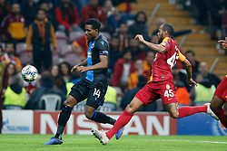 November 26, 2019, Galatasaray, Turkey: Club's David Okereke and Galatasaray's Marcos do Nascimento Teixeira fight for the ball during a game between Turkish club Galatasaray and Belgian soccer team Club Brugge, Tuesday 26 November 2019 in Istanbul, Turkey, fifth match in Group A of the UEFA Champions League. (Credit Image: © Bruno Fahy/Belga via ZUMA Press)