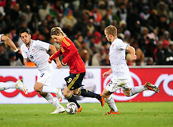Torres and Michael Bradley right  during the Semi Final soccer match of the 2009 Confederations Cup between Spain and the USA played at the Freestate Stadium,Bloemfontein,South Africa on 24 June 2009.  Photo: Gerhard Steenkamp/Superimage Media.