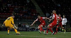 Shane Lowry Leyton Orient's defender looks on as Alex Cisak Leyton Orient's goalkeeper makes a save - Photo mandatory by-line: Mitchell Gunn/JMP - Mobile: 07966 386802 - 18/02/2015 - SPORT - Football - London - Brisbane Road - Leyton Orient v Bradford City - Sky Bet League One