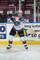 KELOWNA, CANADA - FEBRUARY 2:  Schael Higson #21 of the Kelowna Rockets warms up against the Kamloops Blazers on February 2, 2019 at Prospera Place in Kelowna, British Columbia, Canada.  (Photo by Marissa Baecker/Shoot the Breeze)
