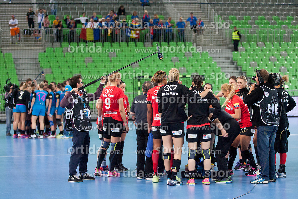 Players of HMC Baia Mare before handball match between RK Krim Mercator (SLO) and HCM Baia Mare (ROM) in 1st Round of Women's EHF Champions League 2015/16, on October 16, 2015 in Arena Stozice, Ljubljana, Slovenia. Photo by Urban Urbanc / Sportida