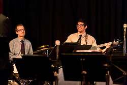 Thomas Horn, drums and Marc Harper, bass, with the PLU Jazz Ensemble at Tula's Jazz Club in Seattle on Sunday, May 3, 2015. (Photo: John Froschauer/PLU)