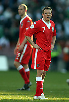 Photo: Paul Thomas.<br /> Republic of Ireland v Wales. European Championships 2008 Qualifying. 24/03/2007.<br /> <br /> A dejected Craig Bellamy of Wales at the final whistle.