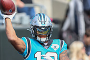 Sunday, October 6, 2019; Charlotte, N.C., USA;  Carolina Panthers wide receiver D.J. Moore (12) during pregame warmups prior to an NFL game against the Jacksonville Jaguars at Bank of America Stadium. The Carolina Panthers beat the Jacksonville Jaguars 34-27. (Brian Villanueva/Image of Sport)