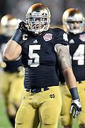 January 7, 2013: Notre Dame linebacker Manti Te'o (5)  before the start of the Discover BCS National Championship game between the Alabama Crimson Tide and the Notre Dame Fighting Irish at Sun Life Stadium in Miami Gardens, Fl