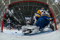 KELOWNA, CANADA - DECEMBER 1:  Lane Zablocki #27 of the Kelowna Rockets is tripped on the ice by Riley McKay #39 of the Saskatoon Blades of the Saskatoon Blades as he skates to celebrate the teddy bear toss goal on December 1, 2018 at Prospera Place in Kelowna, British Columbia, Canada.  (Photo by Marissa Baecker/Shoot the Breeze)