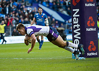 EDINBURGH, SCOTLAND - FEBRUARY 11: Hugh Jones dives over the line to score Scotland's second try during the NatWest Six Nations match between Scotland and France at Murrayfield on February 11, 2018 in Edinburgh, Scotland. (Photo by MB Media/Getty Images)