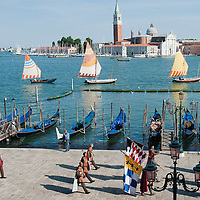 VENICE, ITALY - JUNE 12:  The Historical Pageant in front of St Mark's basin ahead of the Regatta of the Ancient Maritime Republics on June 12, 2011 in Venice, Italy. The idea of the Regatta of the Ancient Maritime Republics was realized in 1955 and the first edition took place in Genova.