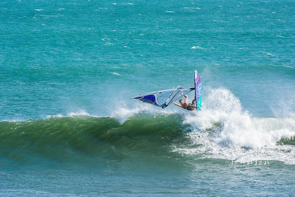 Windsurfing action at Punta San Carlos, Baja California, Mexico