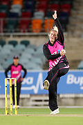 Jess Watkin bowling. Women's T20 international Cricket, Australia v New Zealand White Ferns.  Manuka Oval, Canberra, 5 October 2018. Copyright Image: David Neilson / www.photosport.nz