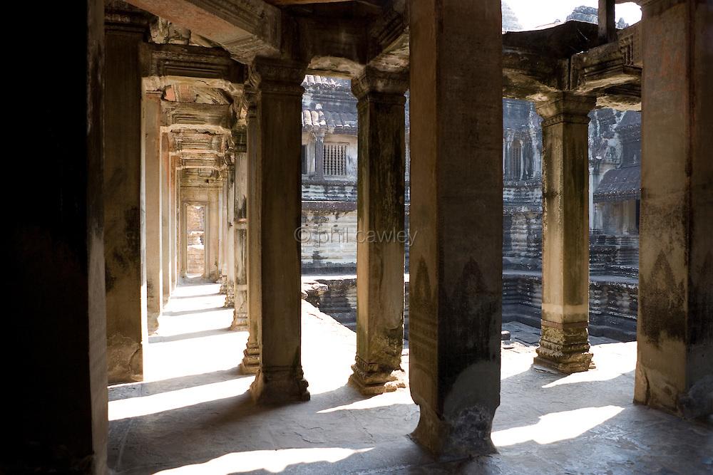 Pillars at the Great Angkor Wat Cambodia, A World Heritage Site