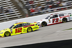April 8, 2018 - Ft. Worth, Texas, United States of America - April 08, 2018 - Ft. Worth, Texas, USA: Ryan Blaney (12) and Cole Whitt (72) battle for position during the O'Reilly Auto Parts 500 at Texas Motor Speedway in Ft. Worth, Texas. (Credit Image: © Chris Owens Asp Inc/ASP via ZUMA Wire)