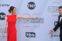 January 27, 2019 - Los Angeles, California, U.S - JESSICA BLAIR HERMAN AND ALLEN LEECH during silver carpet arrivals for the 25th Annual Screen Actors Guild Awards, held at The Shrine Expo Hall. (Credit Image: © Kevin Sullivan via ZUMA Wire)