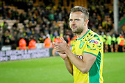 Norwich City forward Jordan Rhodes (11) celebrates promotion to the Premier League after the EFL Sky Bet Championship match between Norwich City and Blackburn Rovers at Carrow Road, Norwich, England on 27 April 2019.