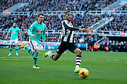 Newcastle United midfielder Isaac Hayden (#14) enters the box chasing the ball during the EFL Sky Bet Championship match between Newcastle United and Derby County at St. James's Park, Newcastle, England on 4 February 2017. Photo by Craig Doyle.