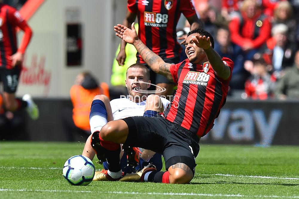 Joshua King (17) of AFC Bournemouth is tackled by Eric Dier (15) of Tottenham Hotspur during the Premier League match between Bournemouth and Tottenham Hotspur at the Vitality Stadium, Bournemouth, England on 4 May 2019.