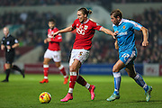 Bristol City's Luke Ayling holds off Wolverhampton Wanderers Grant Holt during the Sky Bet Championship match between Bristol City and Wolverhampton Wanderers at Ashton Gate, Bristol, England on 3 November 2015. Photo by Shane Healey.