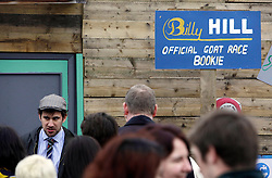 London 06/04/2014<br /> Bookies take bets at the Spitafields City Farm Goat Race, that coincides with the Oxford Cambridge Boat Race. <br /> Photo: Anna Branthwaite/LNP