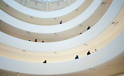 Interior view of galleries in Solomon Guggenheim Museum in Manhattan New York City