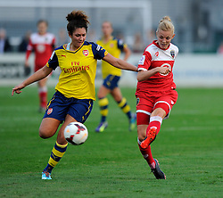 Bristol Academy Women's Sophie Ingle is closed down by Arsenal Ladies' Casey Stone  - Photo mandatory by-line: Dougie Allward/JMP - Mobile: 07966 386802 - 20/09/2014 - SPORT - FOOTBALL - Bristol - SGS Wise Campus - BAWFC v Arsenal Ladies - FA Womens Super League