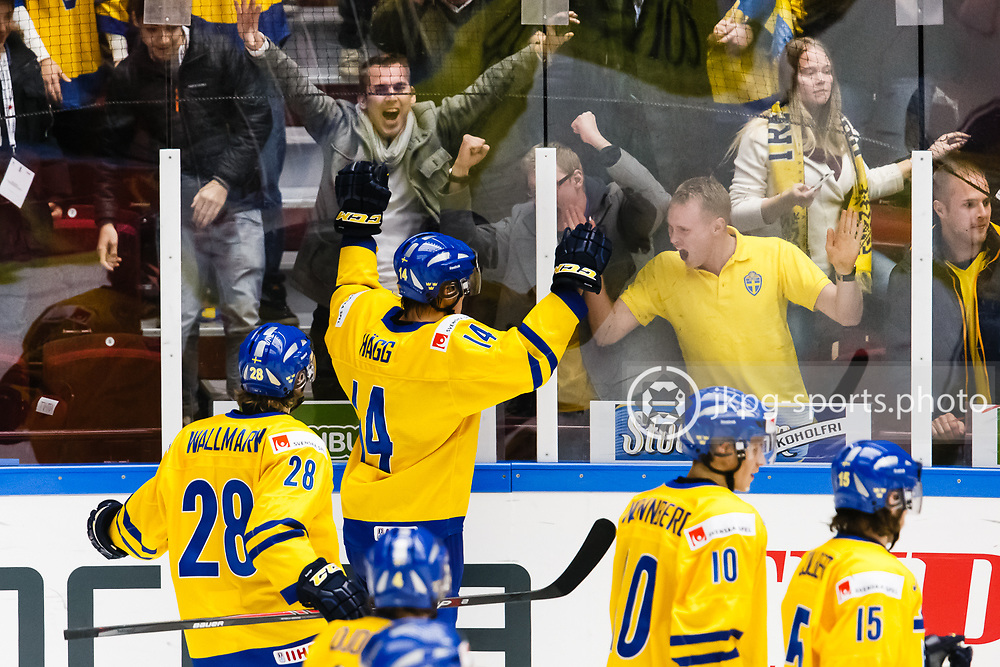 140104 Ishockey, JVM, Semifinal,  Sverige - Ryssland<br /> Icehockey, Junior World Cup, SF, Sweden - Russia.<br /> Robert H&auml;gg, (SWE) celebrates the victory together with some Swedish fans.<br /> Firar segern tillsammans med n&aring;gra i publiken/fans/supportar.<br /> Endast f&ouml;r redaktionellt bruk.<br /> Editorial use only.<br /> &copy; Daniel Malmberg/Jkpg sports photo