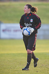 SKELMERSDALE, ENGLAND - Sunday, December 14, 2008: Liverpool's goalkeeper Nicola Davies in action against Birmingham City during the Women's FA Premier League match at the Ashley Travel Stadium. (Photo by David Rawcliffe/Propaganda)