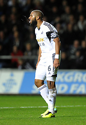Swansea City's Ashley Williams screams and spits in anger - Photo mandatory by-line: Joe Meredith/JMP - Tel: Mobile: 07966 386802 27/10/2013 - SPORT - FOOTBALL - Liberty Stadium - Swansea - Swansea City v West Ham United - Barclays Premier League