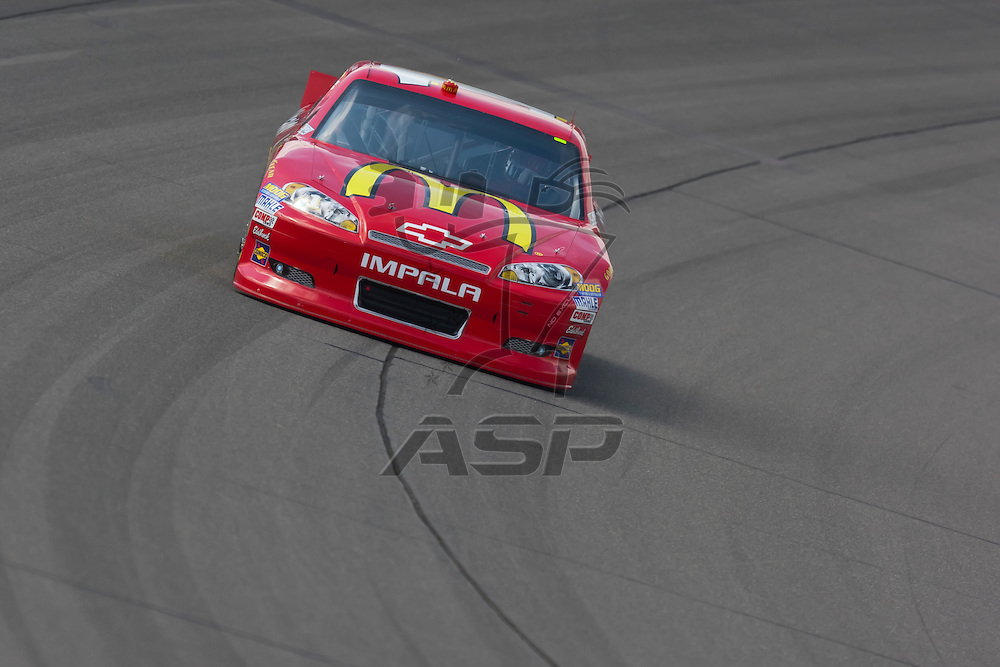 KANSAS CITY, KS - APR 20, 2012:  Jamie McMurray (1) brings his car through the turns during a practice session for the STP 400 at the Kansas Speedway in Kansas City, KS.