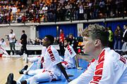 Team Armani Milano durante il pregame, RED OCTOBER MIA CANTU' vs EA7 EMPORIO ARMANI OLIMPIA MILANO, Lega Basket Serie A 2017/2018, 26 giornata, PalaDesio 15 aprile 2018 foto:BERTANI/Ciamillo