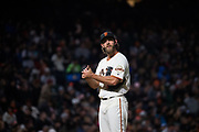 San Francisco Giants starting pitcher Madison Bumgarner (40) reacts to a Colorado Rockies home run at AT&T Park in San Francisco, California, on April 14, 2017. (Stan Olszewski/Special to S.F. Examiner)