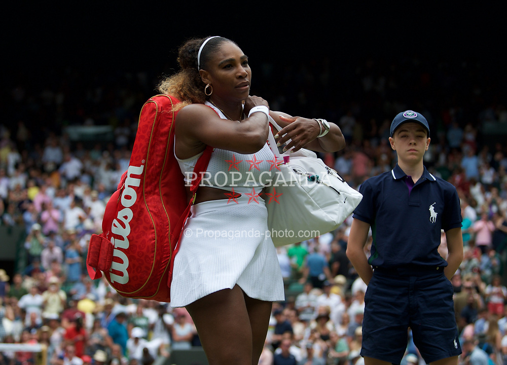 LONDON, ENGLAND - Saturday, July 6, 2019: Serena Williams (USA) walks off court after the Ladies' Singles third round match on Day Six of The Championships Wimbledon 2019 at the All England Lawn Tennis and Croquet Club. Williams won 6-3, 6-4. (Pic by Kirsten Holst/Propaganda)