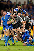 Scott Barrett of the BNZ Crusaders crashes into the Force defense during the Canterbury Crusaders v the Western Force Super Rugby Match. Nib Stadium, Perth, Western Australia, 8th April 2016. Copyright Image: Daniel Carson / www.photosport.nz