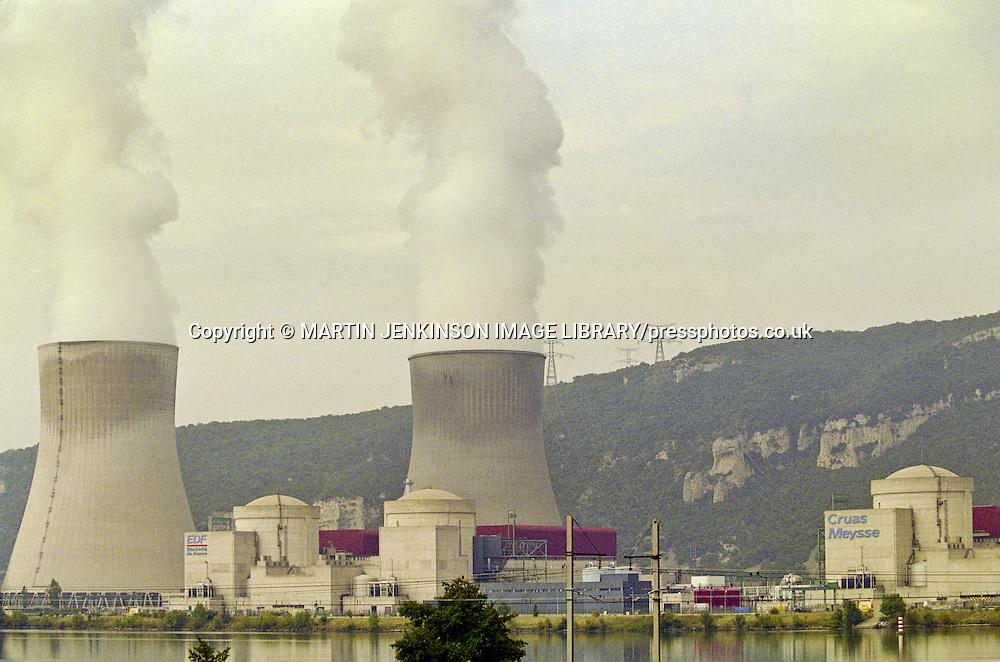 Cruas Meysse French Nuclear Power Station next to tha Rhone river.1996