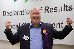 John Okonkowski is elected Peterborough UKIP Councillor for Orton Longueville Ward  from Conservative at the count in Peterborough  at the count in Peterborough as they take Conservative seats in 3 wards in the Peterborough area in the local elections,, Friday 23rd May 2014. Photo By i-Images