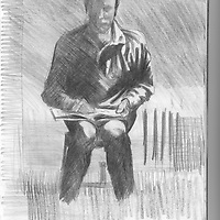 Sketchbook drawing self portrait of male figure seated