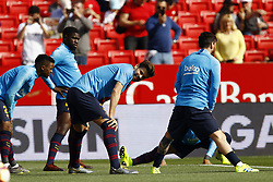 February 23, 2019 - Seville, Madrid, Spain - Gerard Pique (FC Barcelona) seen warming up before the La Liga match between Sevilla FC and Futbol Club Barcelona at Estadio Sanchez Pizjuan in Seville, Spain. (Credit Image: © Manu Reino/SOPA Images via ZUMA Wire)