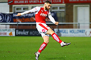 Fleetwood Town Midfielder Jimmy Ryan strikes during the Sky Bet League 1 match between Fleetwood Town and Walsall at the Highbury Stadium, Fleetwood, England on 15 March 2016. Photo by Pete Burns.