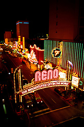 Nevada: Reno,  noted sign on Virginia Street, downtown, at night. Photo: nvre20102  .Photo copyright Lee Foster, www.fostertravel.com, 510/549-2202,  lee@fostertravel.com