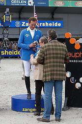 Podium Sires of the World<br /> 1. Gregory Wathelet (BEL)<br /> 3. Christian Ahlmann (GER)<br /> FEI Zangersheide Sires of the World - Lanaken 2013<br /> © Dirk Caremans