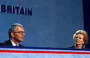 Ex British Prime Minister Margaret Thatcher with current premier  John Major at 1991 Tory party conference.