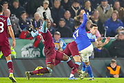Goal Leicester City forward Ayoze Pérez (17) scores a goal 4-1 during the Premier League match between Leicester City and West Ham United at the King Power Stadium, Leicester, England on 22 January 2020.